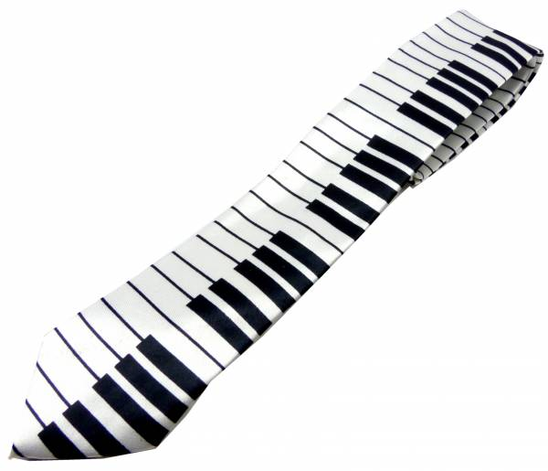 Musiker-Krawatten weiss Herren Damen Schlips Motiv Klavier-Tasten Flügel-Piano Krawatte Men Woman Cravat Neck-tie Music white 5176