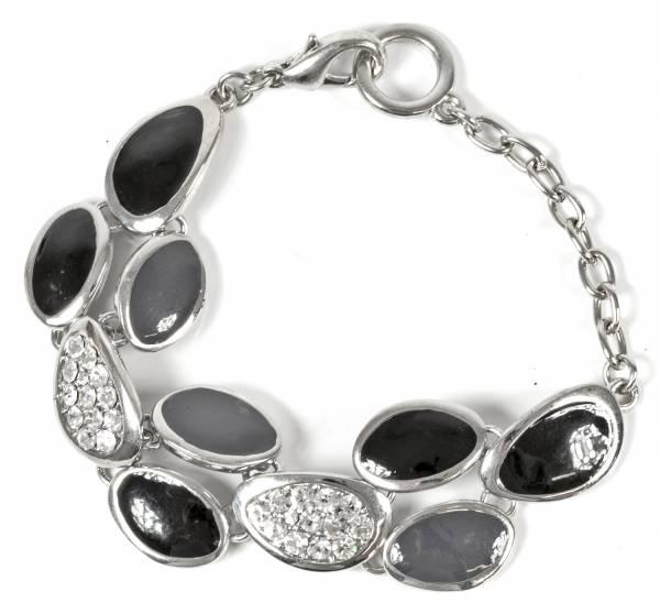 Damen Armband Silber Schwarz Bettel-Armband mit Strassbesatz Lucky-Chain-Tropfen