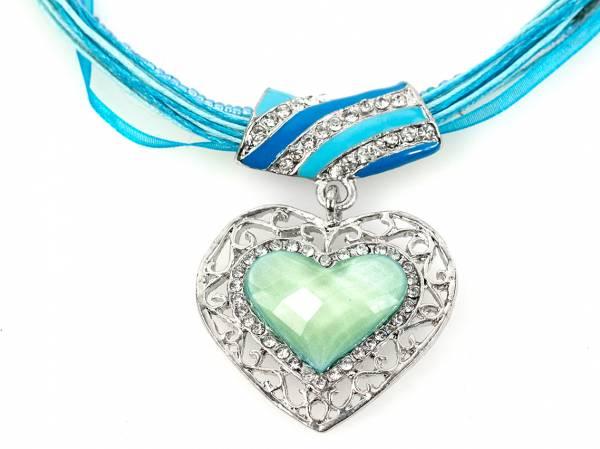 Damen Halskette Strass Herz Trachtenkette blautöne