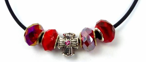 Beadskette Charms-Halsketten Handmade 5er silber Kreuz -ROT5-