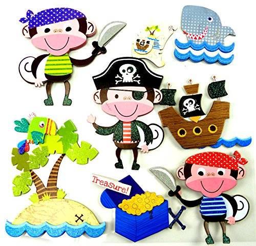 Kinder Zimmer 3D Wandtattoos Zimmer Dekoration Wandsticker Wand Tattoo viele Motive (Pirat Munkey)