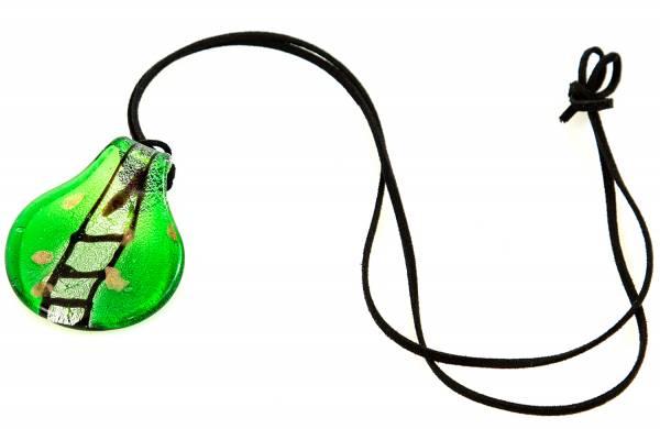 Damen-Halskette Glas-Anhänger grünes Blatt