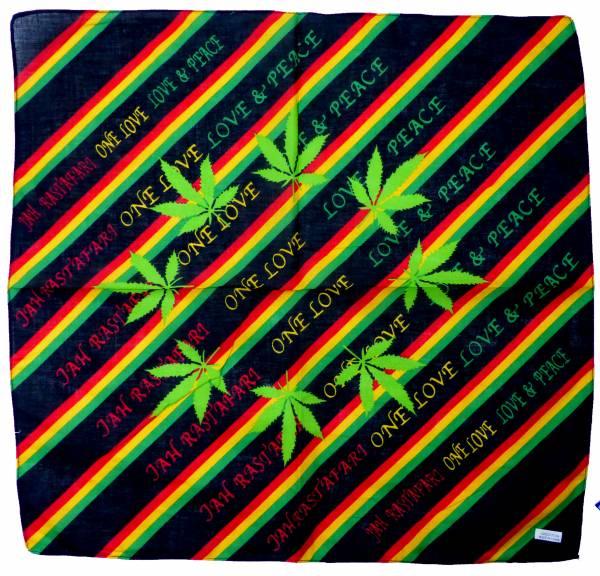 Nicki-Tuch schwarz Motiv Hanf-Blatt grün Jamaika Farben Tuch Nickituecher Canabis Scarf black love & peace Bandana Tuecher 55x55cm 5083