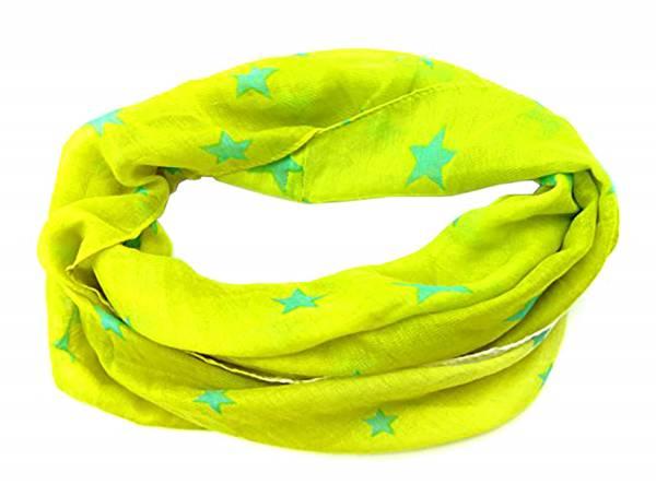 Damen Herren Loop Schal Gelb Sommer Winter Stern Motiv grün