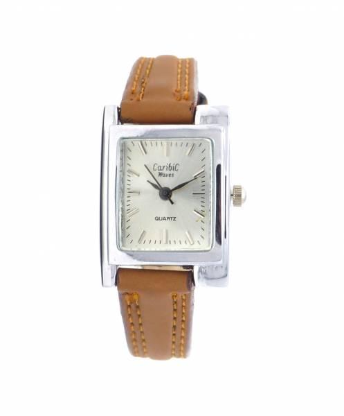 Damenuhr schwarz Analoges Quarz-Uhrenwerk Lederarmband braun