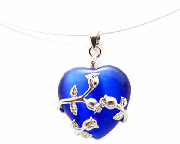 Damen Herz-Ketten Handmade-Design Charms-Beads Kette blau Halskette mit einzigartigem Anhänger Rosenherz BLAU