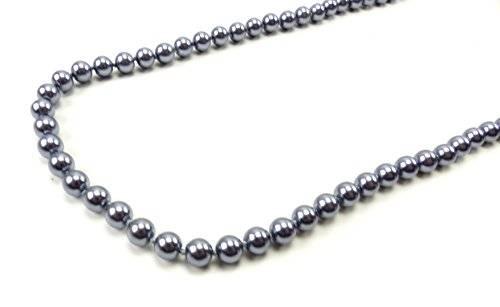 Kette 1518 Perlen Halskette Damen Ketten verschiedene Farben 72cm (grau-blau)