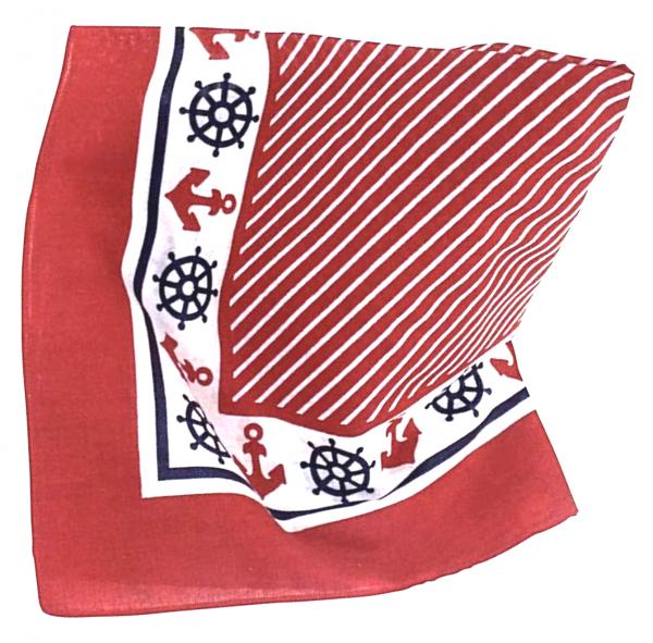 Nickituch Maritimes Motiv 53cm Streifen Anker rot