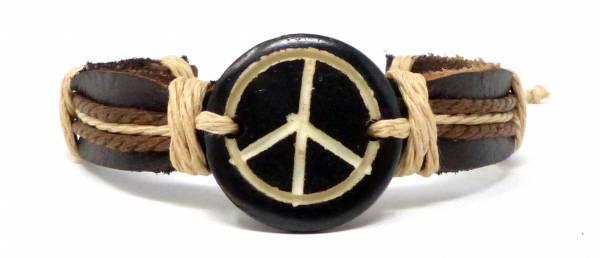 Armband Echt-Leder Natur-Produkte Handmade - Peace