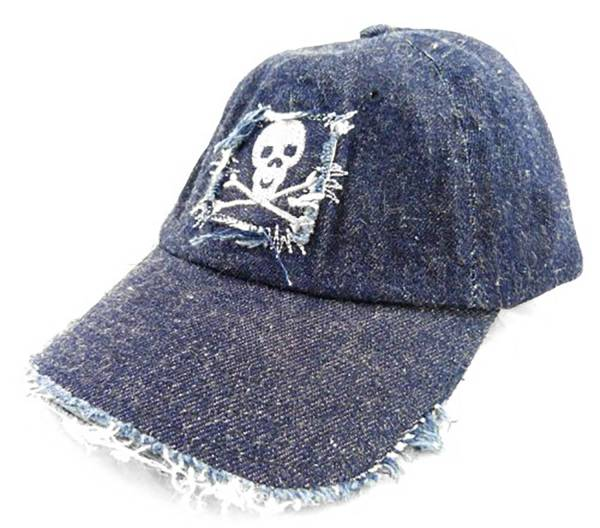 Schirm-Mütze Herren Damen Jeans Cap d.blau alle Größen used Style Motiv Totenkopf Skull Theme d.blue 3926