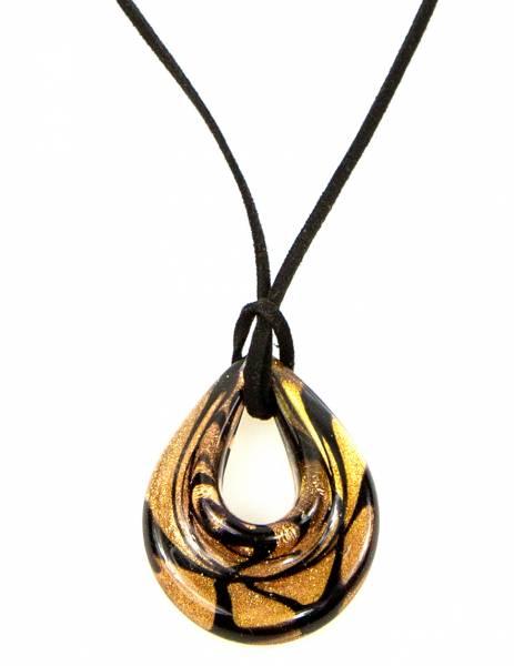 Damen-Halskette Glas-Anhänger braun Meliert