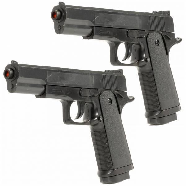 Doppelpack Softair-Set Pistole Federdruck Kostüm 20cm Inkl Magazin 0,5 Joule