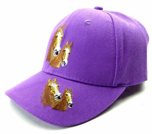 Muetze 4487 Kinder Pferde Cappy Child Horse Cap Retro Mütze (flieder)
