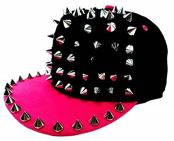 Schirm-Mütze Killer-Nieten Cap Universal-Größe verstellbar (PINK)