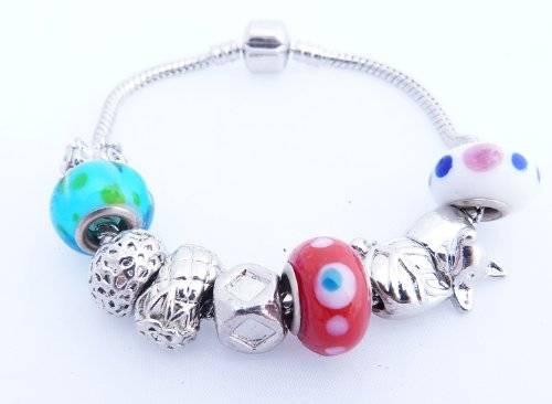 wunderschönes Beadarmband Beads mit Strass, Glassteinen, Silber