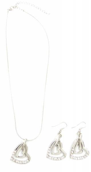 Damen-Schmuckset Silber-Kette und Ohrringe mit Herz-Anhänger und Strass Besatz 3789