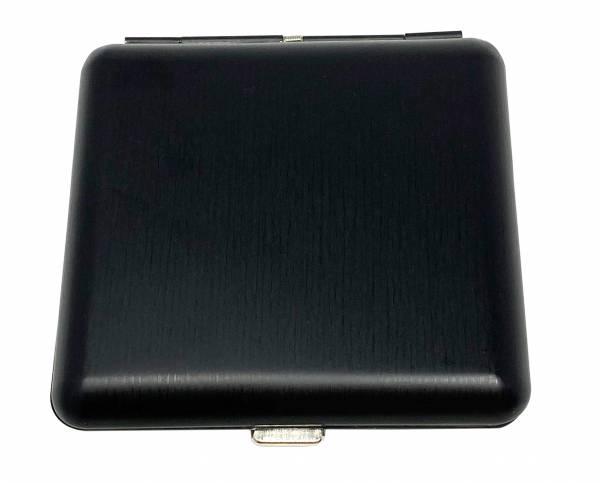 Premium Zigaretten-Etui Metall-Box Schachtel Matt-Schwarz 20 Zigaretten