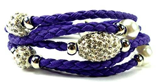 edle Damen Armbänder in tollen Farben mit Strasskugeln und Perlen viele Modelle U10-6 (lila)
