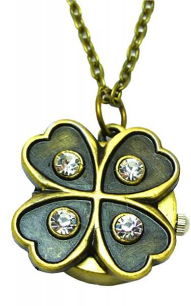 Damen-Uhren Taschen-Uhr mit Strass edle Kettenuhr moderne Umhängeuhr 4cm mit Klappdeckel Bronze-Klee