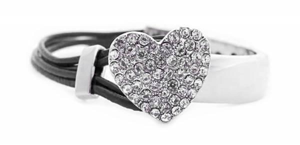 Damen Armband mit Silber Strass Herz LdSchw