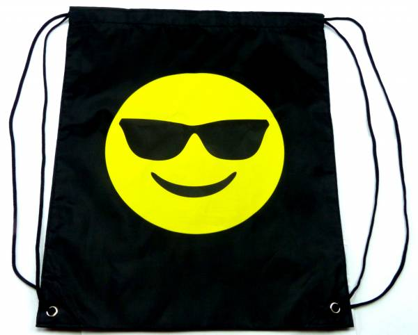 Beutel-Rucksack Herren Damen Hipster Tasche schwarz Emoji-Cool Turnbeutel Segeltuch Seemannsbeutel Stoff-beutel Kinder Gym Tasche - Black Emoji-Sun Glasses