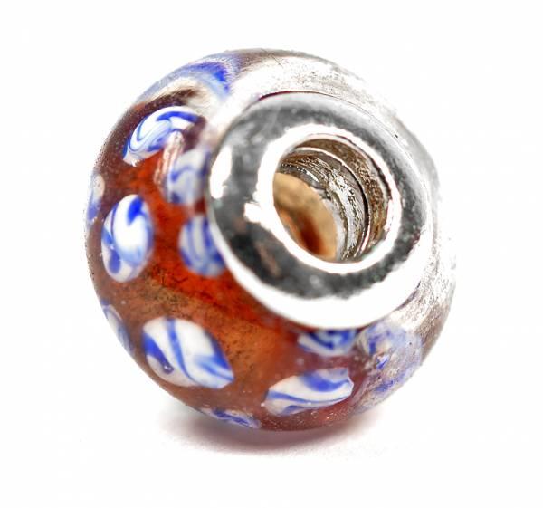 Beads Charms Schmuck Glasperlen Anhänger Unisex Zwischen-Element Kugel Retro Braun Handbemalt