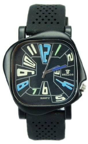 Edle ausgefallende unisex Silikon Armbanduhr mit blauen Ziffern