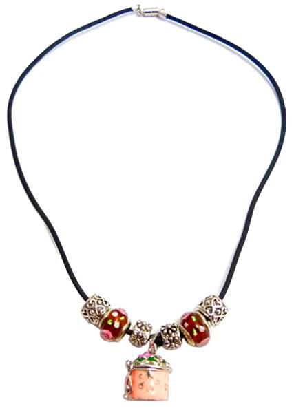 Damen-Halsketten Charms-Beads Kette mit Anhänger zur Aufbewahrung ROSA-1