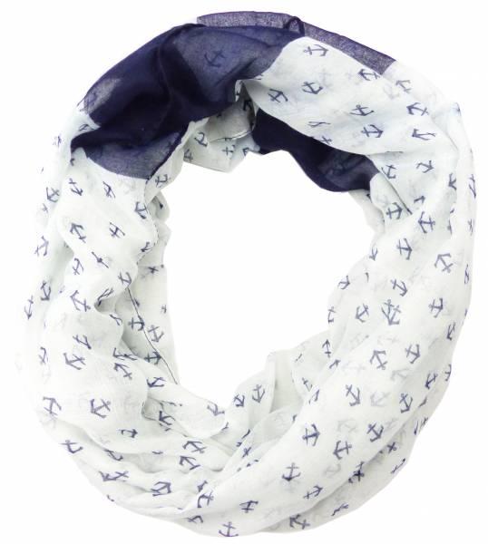 Schal-Herren Damen-Loop Schals weiss oder creme Motiv Anker-blau Schlauch Schals Rundschal Men Woman Loop-Scarfs White or Creme Theme: Anchor-mini blue