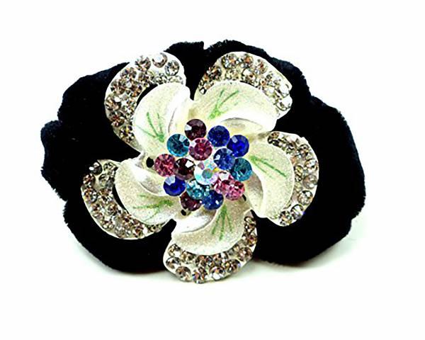 Damen Blumen Haargummi Haarspange mit edlen Strass weiss