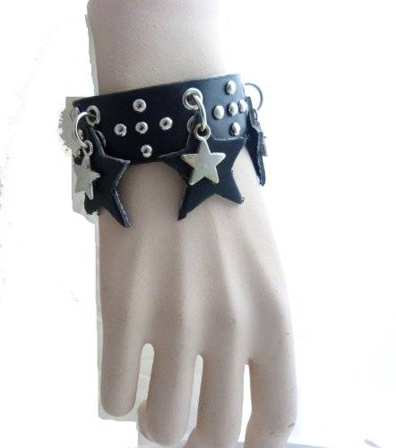 Echtleder Armband mit verschiedenem Besatz (Sterne)