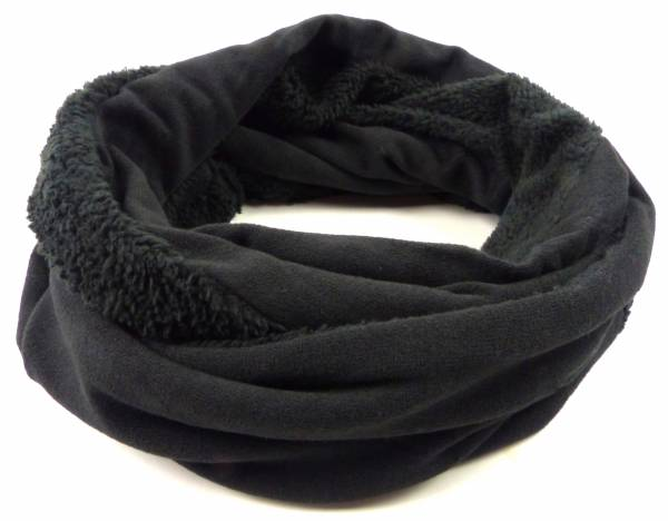 Winter-Schal Herren Damen Loop-Schals schwarz warm gefüffert Schlauch-Schals Rundschal Winter-Scarfs black