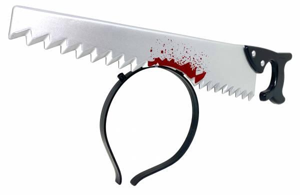 Halloween Haarreif Grusel-Kostüm Verkleidung blutige Säge im Kopf 36cm