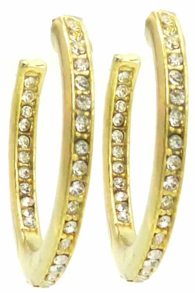 Damen Creolen gold Ohrringe gold Strass 3cm gold Halb-Creolen Designer Schmuck 2Stk