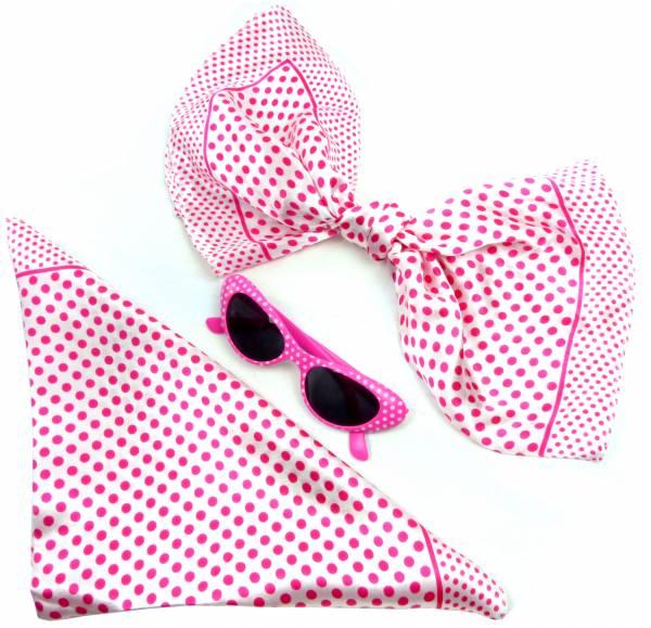 50er Jahre Set Tücher weiss rosa seidig weich Monro. Fasching-Set Damen Rockab. Tuecher mit passender Sonnen-Brille pink weiss 60er Billy Tuch Poly. white/rose 5194