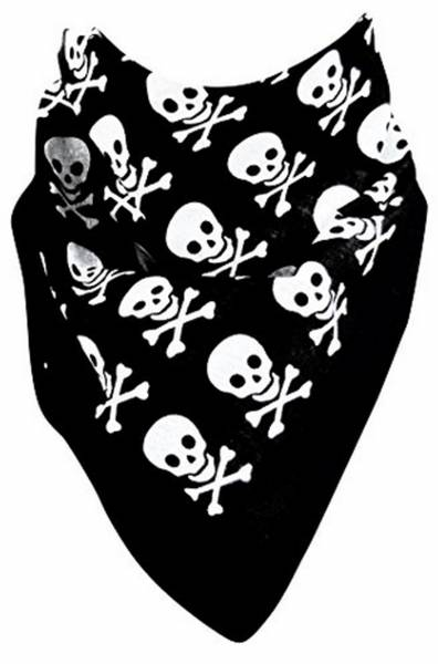 Rocker Nickituch Hals-Tücher schwarz Totenkopf Motive weiss