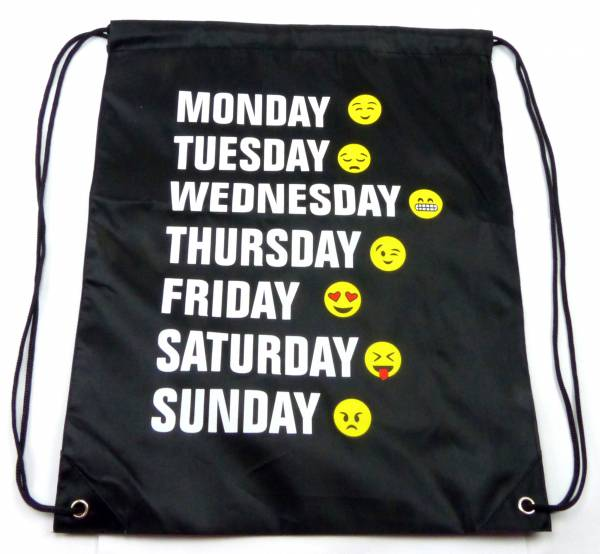 Beutel-Rucksack Herren Damen Hipster Tasche schwarz Emoji-Week Turnbeutel Segeltuch Seemannsbeutel Stoff-beutel Kinder Gym Tasche - Black Smiley 7 Days