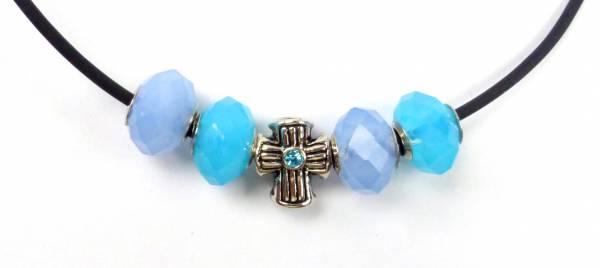 Beadskette Charms-Halsketten Handmade silber Kreuz -türkis5-