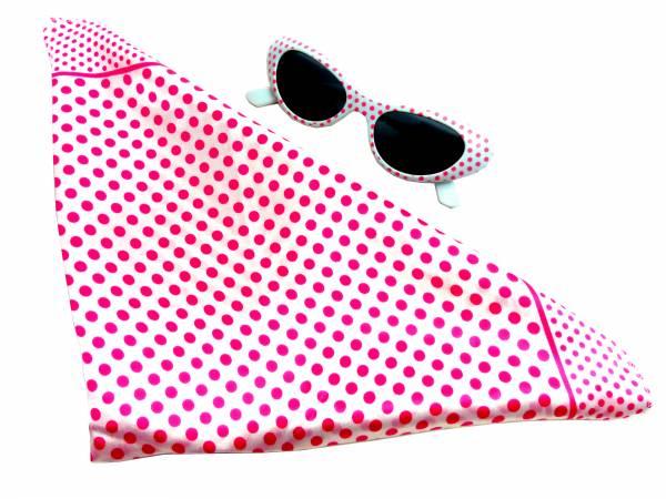 Halstuch Fasching Set rosa weiss Damen Rockab. 50er Jahre Set Monro. Tuecher mit passender Sonnen-Brille 60er RockaB. rosa weiss 5363
