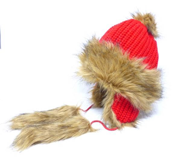 Herren Damen Winter Mütze mit Kunstfell rot braun
