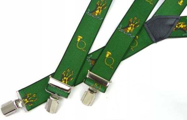 Hosentraeger Herren Damen Hosenträger grün Jäger Motiv Jagt Horn Wild suspenders Hunter green Ranger 4862
