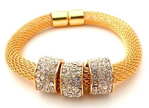 edle Designer Damen Armbänder mit Strass Beads Modell -betterOne- viele Modelle (gold M)