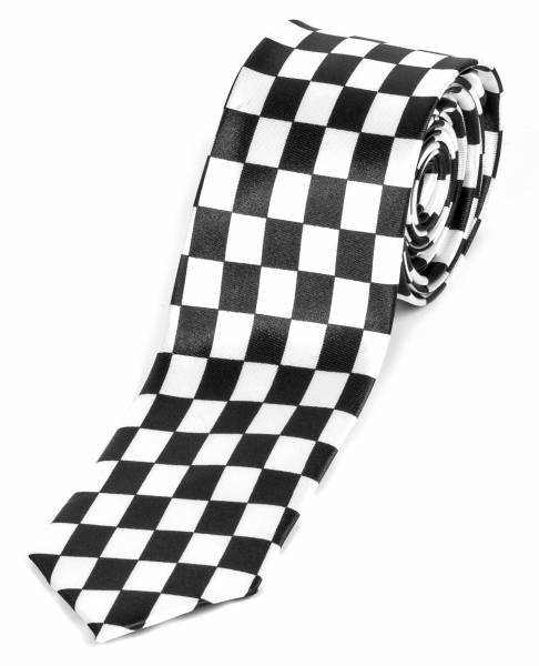 Motto-Krawatte Designer Krawatte Schwarz Weiss Standartbreite Handgefertigte Weisse Karo Muster