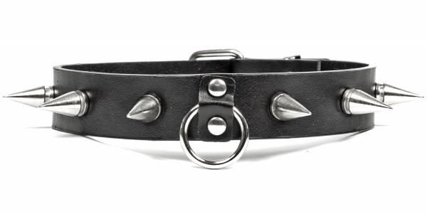 Premium Spalt Leder Nieten-Halsband Edelstahl für Männer Schwarz silber Ring