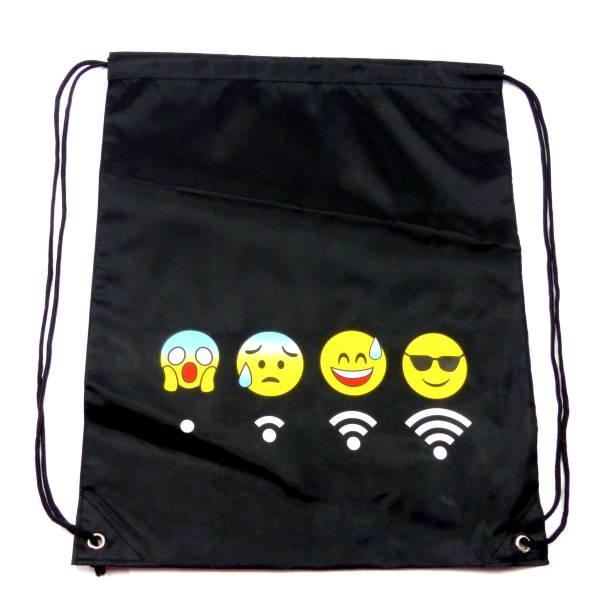 Beutel-Rucksack Herren Damen Hipster Tasche schwarz Emoji-WLAN Turnbeutel Segeltuch Seemannsbeutel Stoff-beutel Kinder Gym Tasche - Black Smiley 4