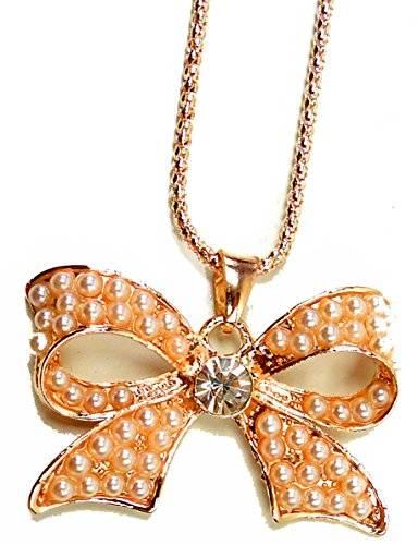 Halskette-Damenhalskette Damen Collier-Schleife-Rose-Gold mit Strass