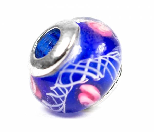 Beads Charms Schmuck Glasperlen Anhänger Unisex Zwischen-Element Kugel Blau Handbemalt