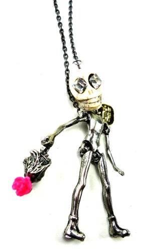 Handgemachte Killerkette Skelettkette Lady Skull mit Handtasche Osw2