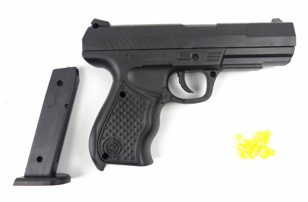 Spielzeug-Pistole Softair-Waffe Toy-Gun RP9B schwarz Federdruck 0,2J Weapon im Set mit Kugeln
