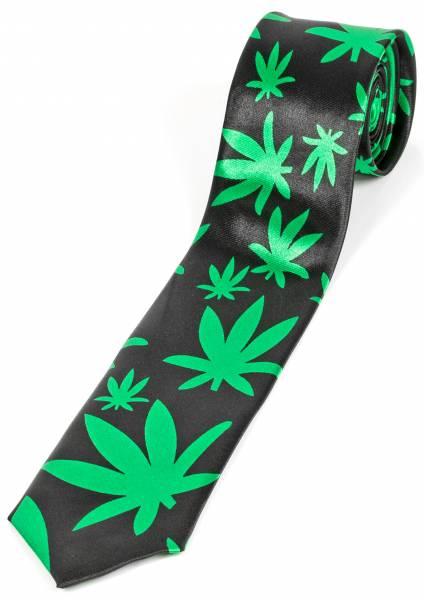 Motto-Krawatte Designer Hanf-Schlips Schwarz Grün Cannabis Motiv